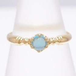 K18 18-karat gold YG yellow Goldring 10 blue topaz used jewelry ★★ giftwrapping for free