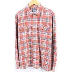 Patagonia Patagonia ORGANIC COTTON organic cotton checked pattern long sleeves heavy flannel shirt men M /wbh8405 made in 11 years