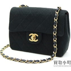 Take Chanel mini-matelasse classical music chain shoulder bag black cotton jersey here mark twist lock flap bag slant; quilting vintage A01115 #01 CLASSIC MINI FLAPBAG