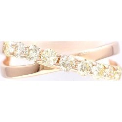 K10 10 gold PG pink Goldring 5 yellow diamond 0.30 used jewelry ★★ giftwrapping for free