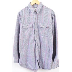 Men L vintage /wbg6171 in the 80s made in ST JOHN'S BAY checked pattern long sleeves heavy flannel shirt USA