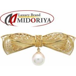 Broach ribbon motif K20YGxK18YG pearl pearl Lady's jewelry /78398
