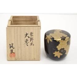 筑城筑良造雲錦画大棗 [tea ceremony / tea set / tea service set / curio / tea / jujube]