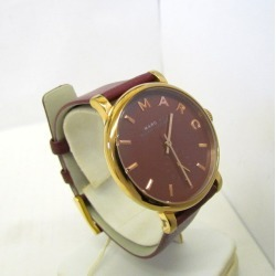 MARC BY MARC JACOBS mark by mark Jacobs watch analog quartz MBM1267 Baker round face Bordeaux wine red gold clockface wine red logo stainless steel leather belt Lady's Higashiosaka store 352915 RY1705