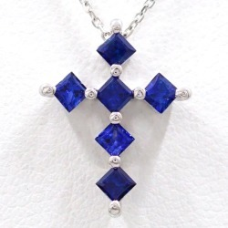 K18 18-karat gold WG white gold necklace sapphire 0.60 used jewelry ★★ giftwrapping for free