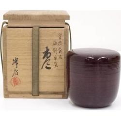 峯房造筆柿蒔絵溜刷目塗棗 [tea ceremony / tea set / tea service set / curio / tea / jujube]