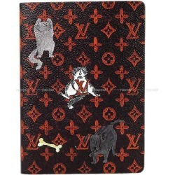 """Latest LOUIS VUITTON Louis Vuitton """"cahier Clement's"""" notebook notebook dog and cat brown X red monogram cat gram GI0358 new article Cruise-limited for 2,019 years"""