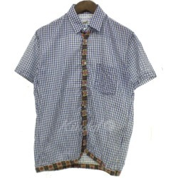 COMME des GARCONS SHIRT check short sleeves shirt white X blue size: XS (コムデギャルソンシャツ)