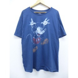 Old clothes T-shirt Disney DISNEY Mickey MICKEY MOUSE big size dark blue navy XL size used men short sleeves