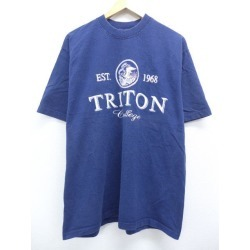 Old clothes vintage T-shirt triton college dark blue navy XL size used men short sleeves