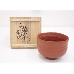 佐渡無名異焼伊藤赤水造朱泥茶碗 [Japanese dishes / Matcha porcelain bowl / Matcha bowl / tea ceremony / tea set / tea service set / curio / tea]