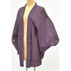 The silk gauze is cage dress length 79cmM size 裄 65cmM size lightweight cloth colored leaves pattern purple system mm0246b in haori kimono recycling used pure silk fabrics summer