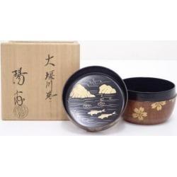 岡本陽斎造大堰川棗 [tea ceremony / tea set / tea service set / curio / tea / jujube]