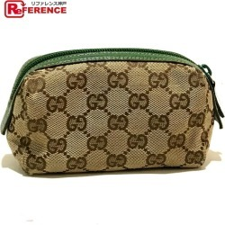 AUTHENTIC GUCCI Pouch Women's Accessories Cosmetic pouch Cosmetics Pouch Beige x Green 29596