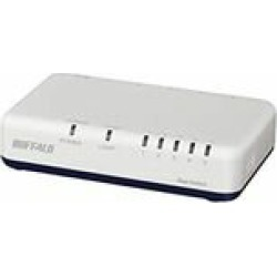 Buffalo LSW6-GT-5EPL/WH Giga 5 port switching hub power supply attaching externally indication stock =△