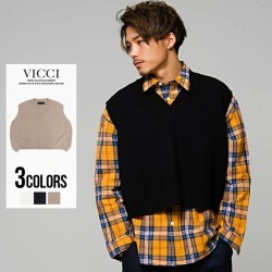 "All three colors of best men's ""VICCI plain fabric short length V neck knit best / ""M L black beige off-white unisex spring clothing spring 2019"