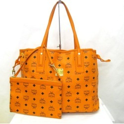 Bag Higashiosaka store 343982 RYB3160 with the MCM M CM tote bag one shoulder bag reversible logo gram orange python pattern gold metal fittings Lady's porch