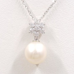 K10 10 gold WG white gold necklace pearl zirconia used jewelry ★★ giftwrapping for free