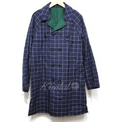 UNDER COVER 15AW WINDOW PANE CHECK TRENCH COAT navy size: 2 (under cover)