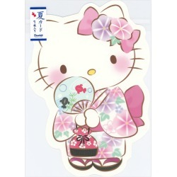 S4219 Sanrio overuse road summer card summer card UV processing in postcard summer in summer with one piece of summer greeting card die cut Kitty yukata figure