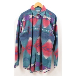 Men L vintage /wbe7229 in the 80~90 generation made in Ulrich WOOLRICH native bottle tit sleeve chamois shirt USA
