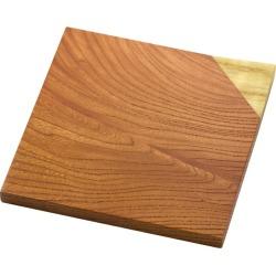 Choice wood combination coaster, large zelkova (zelkova) + Amur cork Kyoto, 美山銘木工芸山匠 Wooden coaster, Works of Japanese precious wood