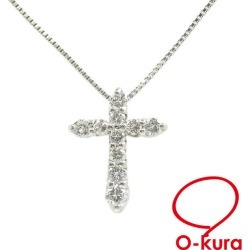 Diamond cross necklace Lady's Pt900 Pt850 0.50ct 3.6 g platinum diagram cross deep-discount pawnshop exemption from taxation A2167728