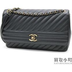 Take Chanel quilting flap bag black medium W chain shoulder slant; diagonal stitch here mark twist lock A93231 #22 Diagonal Quil