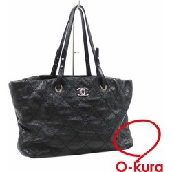 Chanel tote bag on the road Lady's black black leather A48019 CHANEL here mark shawl shoulder Wilde stitch silver metal fittings deep-discount exemption from taxation A2176061