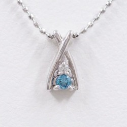 K14 14-karat gold WG white gold necklace blue diamond diamond used jewelry ★★ giftwrapping for free