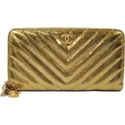 CHANEL シャネルシェヴロンマルチカラーステッチカブト insect here round fastener long wallet gold / blue metallic lambskin AP0506 new article #yochika latest for 2,019 years