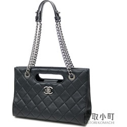 Chanel quilting chain shoulder bag black leather here mark classical music matelasse A93057 #21 Small Calfskin Tote Bag