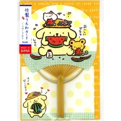 Round fan card apple apple pudding and watermelon S4239 Sanrio pattern in greeting card multi-purpose summer in summer made of bamboo are card きてぃはなび in card summer in the multipurpose summer that is bamboo of the genuine article