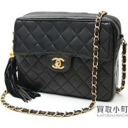 Chanel matelasse tassel charm chain shoulder bag black lambskin here mark twist lock flap fringe classical music x vintage #02 Classic Chain Shoul