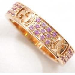 Gucci icon stardust K18PG ring 6.5 pink sapphire box used jewelry ★★ giftwrapping for free