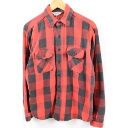 Men L vintage /wbg3062 in the 70~80 generation made in five brother Five Brother checked pattern long sleeves heavy flannel shirt USA