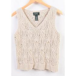 Ralph Lauren Ralph Lauren LAUREN Lauren hand knit V neck silk knit best Lady's L /wbi0039
