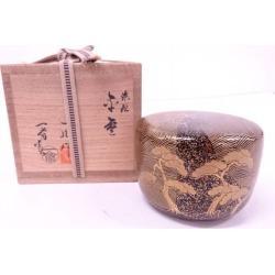釜師茶平一斎造人間国宝蒔絵師一后一兆造内梨地輪島塗蒔絵浜松平棗 [tea ceremony / tea set / tea service set / curio / tea / jujube]