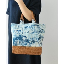 The bag (cloth, pocket in the second skin / weaving like a wickerwork pattern /U character Toride /) of a mountain village dyeing and weaving industrial arts X basket and irregularity dyeing and the mountain grape of one point (about) 340 g [tote bag] of