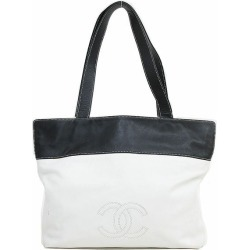 CHANEL (Chanel) here mark shoulder bag / tote bag black white by color black X white leather netshop