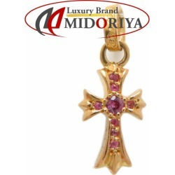 Authentic CHROME HEARTS 22K Yellow Gold Cross Baby Fat Pink Sapphire Charm /092165 FREE SHIPPING
