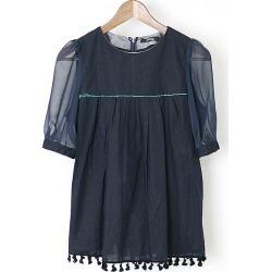 UNDER COVER under cover 15SS hem tassel fringe short sleeves blouse navy 2