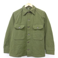Old clothes long sleeves vintage military shirt wool green green large size used men tops
