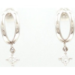 PT850 platinum pierced earrings diamond used jewelry ★★ giftwrapping for free