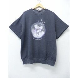 Old clothes short sleeves sweat shirt Disney DISNEY Winnie-the-Pooh gray XL size used men sweat shirt trainer tops Spring clothes summer clothing summer clothes men fashion casual stylish fashion in the spring and summer for spring