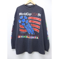 Old clothes long sleeves vintage T-shirt World Cup soccer big size black black XL size used men