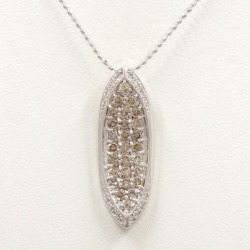 Total K18 18-karat gold WG white gold necklace diamond Dai Brown-ya 1.00 used jewelry ★★ giftwrapping for free