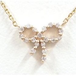 アガット K10YG necklace diamond 0.09 used jewelry ★★ giftwrapping for free
