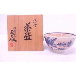 Auspicious sign kiln Goro Asami Sukezo dyed pattern hills and rivers bowl [Japanese dishes / Matcha porcelain bowl / Matcha bowl / tea ceremony / tea set / tea service set / curio / tea]