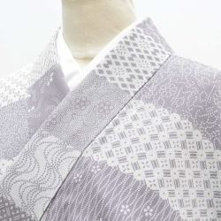 Recycling unlined clothes fine pattern spring clothing recycling unlined clothes kimono used pure silk fabrics newly made / recycling kimono / 女性裄 63cm S dress length 157cm M white purple system hotchpotch fine pattern pattern choice gem ★★&st